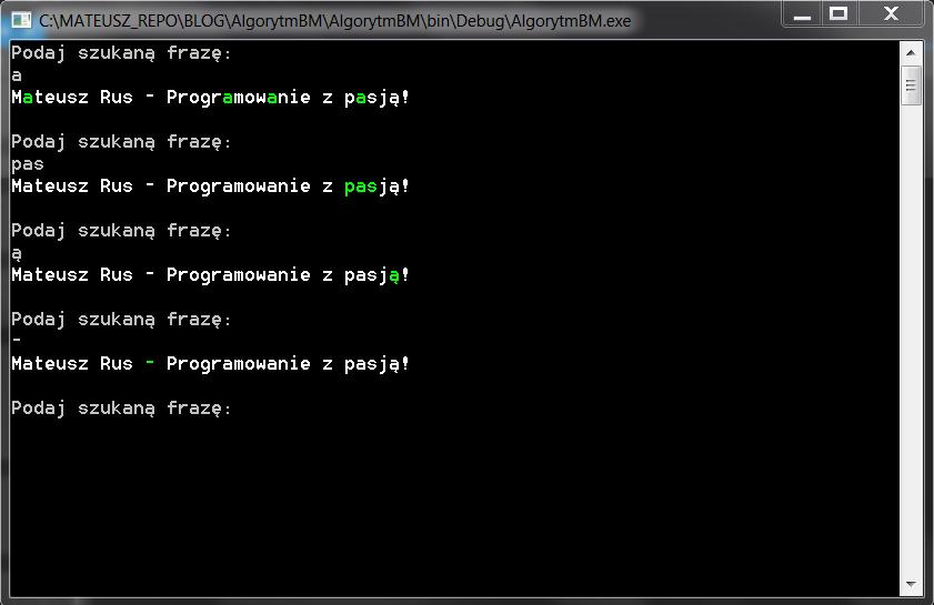 Program konsolowy z przykładem działania algorytmu Boyera-Moore'a