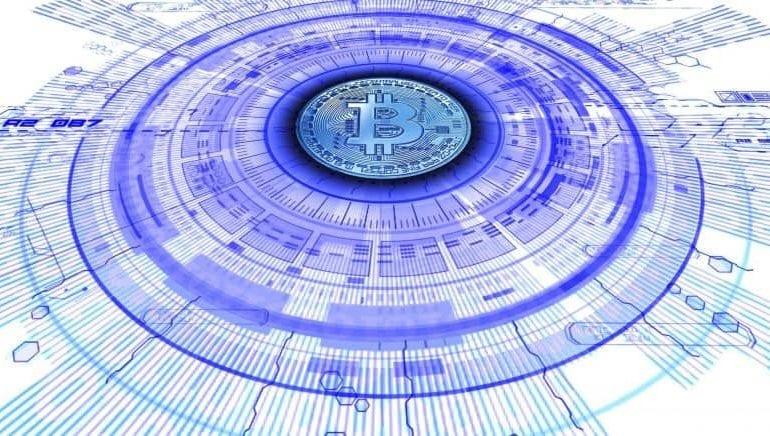Obraz symbolizujący blockchain i walutę bitcoin