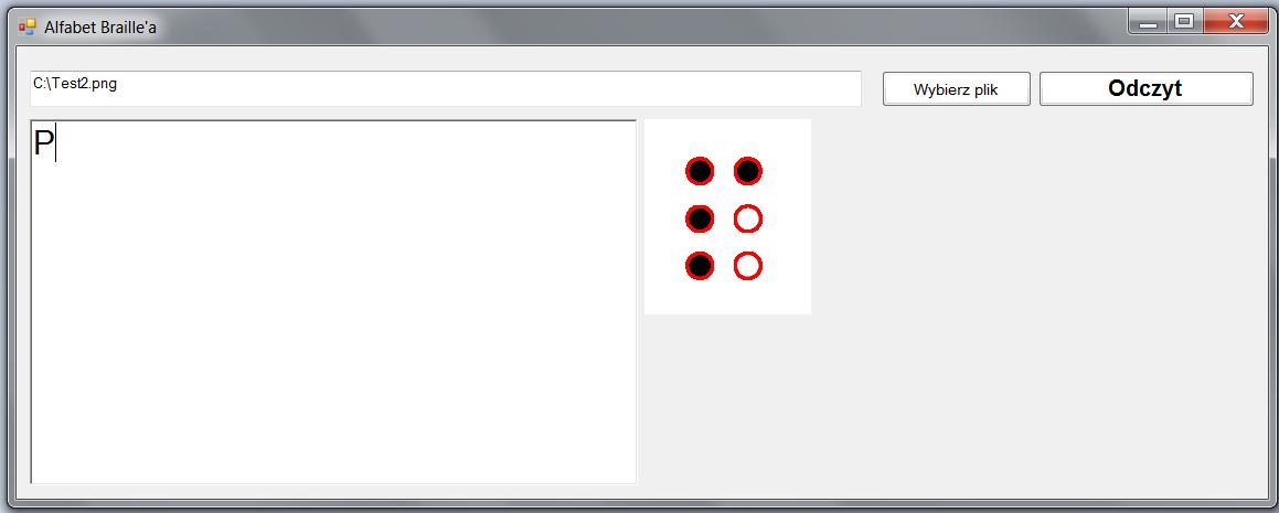 Wygląd aplikacji po uruchomieniu i odczytaniu pliku tekstowego z literą alfabetu Braille o wartości P.