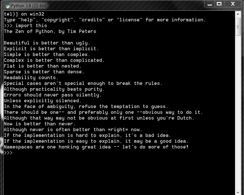 Zen of Python dostępny w konsoli