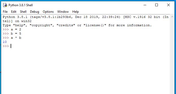 Wynik mnożenia zmiennej a oraz b w IDLE.
