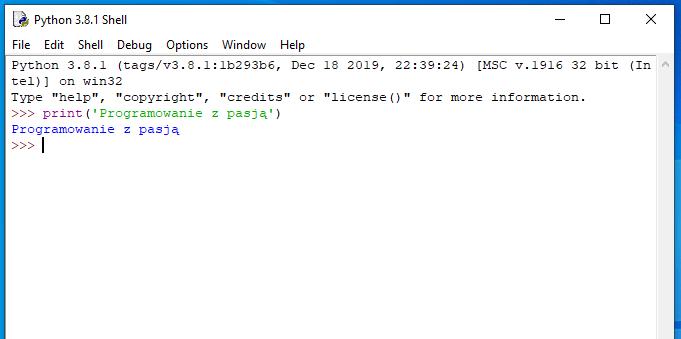 """Funkcja print wypisująca na ekran napis """"Programowanie z pasją"""""""