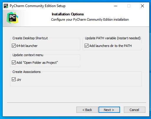 Zaznaczone wszystkie opcje podczas instalacji PyCharm w wersji Community w Kurs Python.