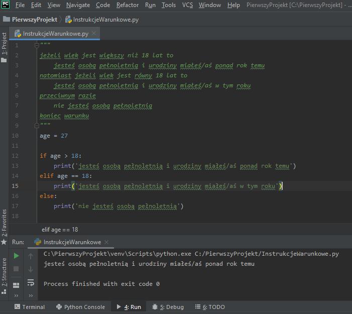 Prosty kod, który przedstawia instrukcję warunkową.