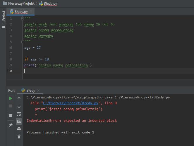 Błąd spowodowany brakiem wcięcia w kodzie.