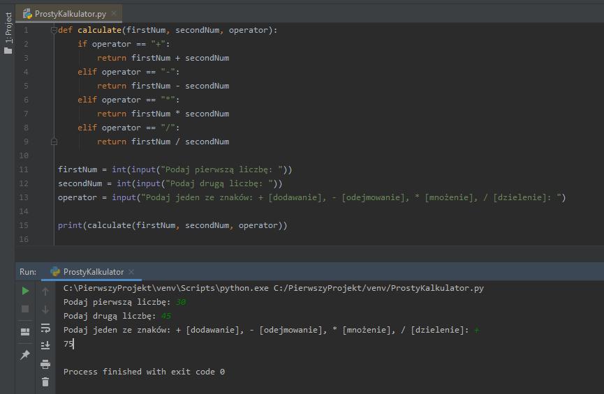 Przedstawienie działania nowej funkcji calculate.