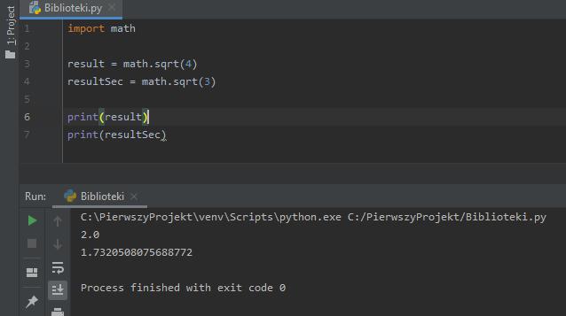 Użycie biblioteki Math i funkcji sqrt.