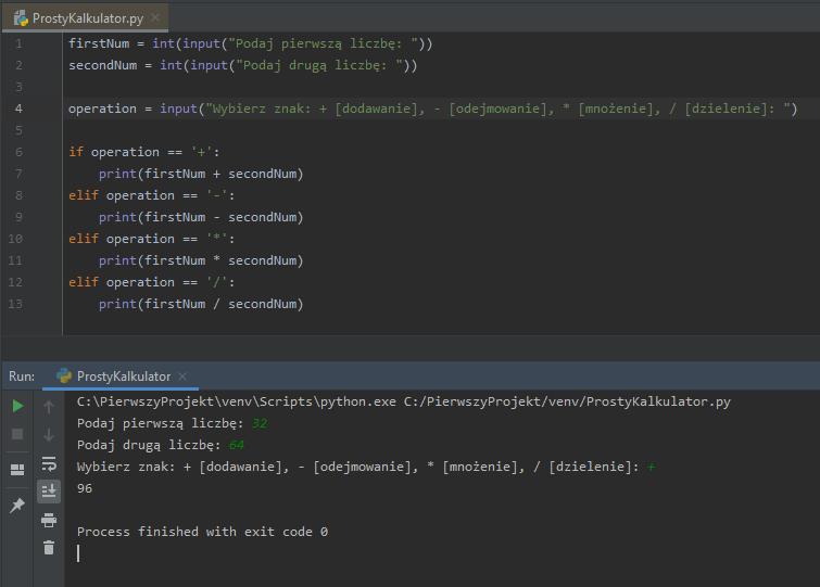 Kod i działanie przykładowego kalkulatora.