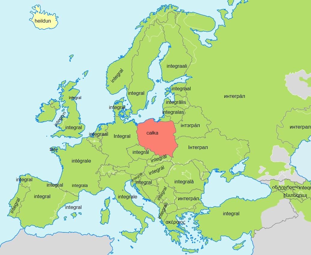 Nazwa całki w krajach europejskich.