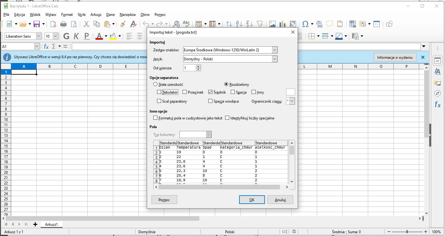 Uruchomienie arkusza kalkulacyjnego i wczytanie wartości z tekstu.